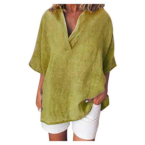 Auifor Damen Henry Shirt, Damen Baumwoll-Shirts, Kurzarm V-Ausschnitt Casual Loose Tops Bluse