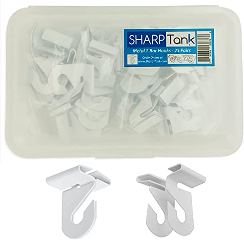 """Sharp Tank - 25 Pairs of High Strength Aluminum Utility Hooks for Drop Ceiling T-Bars - 50 Pcs Total (25 Left, 25 Right) with Container - White Enamel Finish - 1"""" x 1.5"""""""