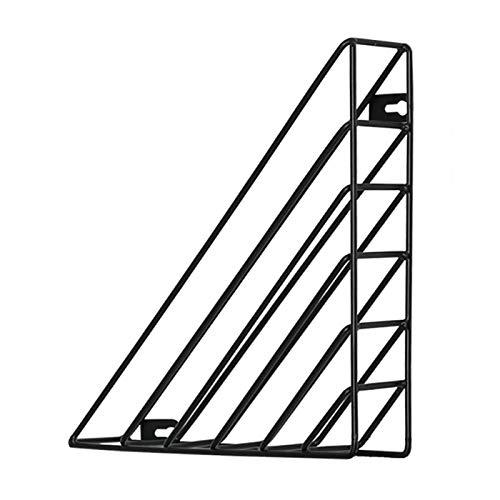 ALEOHALTER Estantes flotantes para libros de oficina, estante colgante de triángulo, almacenamiento montado en la pared, estructura de hierro de estudio de archivos de archivo marcos (negro) ✅