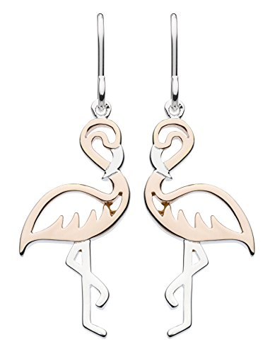 Dew Sterling Silver and Rose Gold Plate Pretty Pink Flamingo Drop Earrings, 6677RG