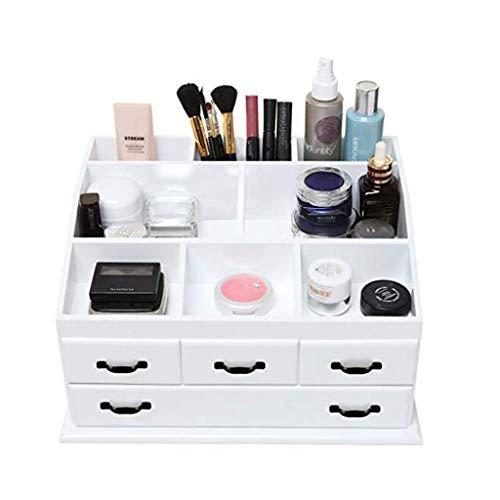 Yxsd Boîte de Rangement en Bois avec 4 tiroirs, Bijoux, Maquillage, cosmétiques, Affichage, Blanc