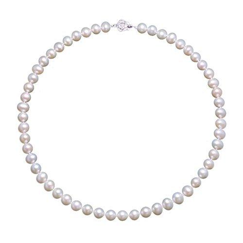 Collana da Donna in argento 925 con perle d'acqua dolce coltivate 7-8 mm regalo per donna di VIKI LYNN