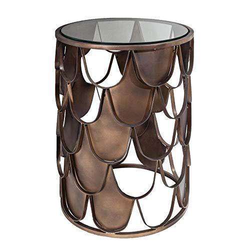 riess-ambiente.de Industrial Beistelltisch Abstract 40cm antik Messing im Fischschuppen Design Tisch Wohnzimmertisch
