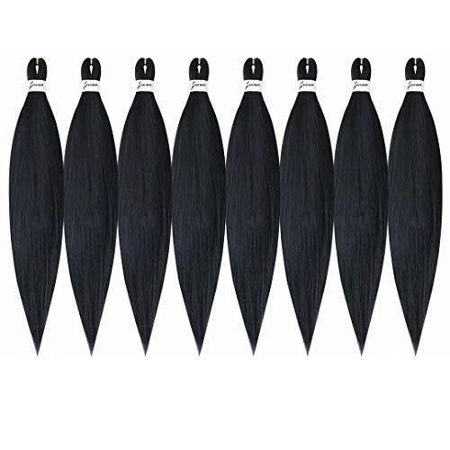 "Pre-stretched Braiding Hair Natural Black 26""-8 Packs Professional Easy Braiding Hair Hot Water Setting Synthetic Fiber Braiding Hair Kanekalon(1B#,26"",8packs)"