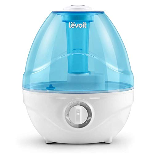 LEVOIT Humidifiers for Bedroom, Ultrasonic Cool Mist Air Vaporizer for Babies (BPA Free), Easy to Clean, Night Light, Lasts up to 24 Hours, 2.4L, Gray