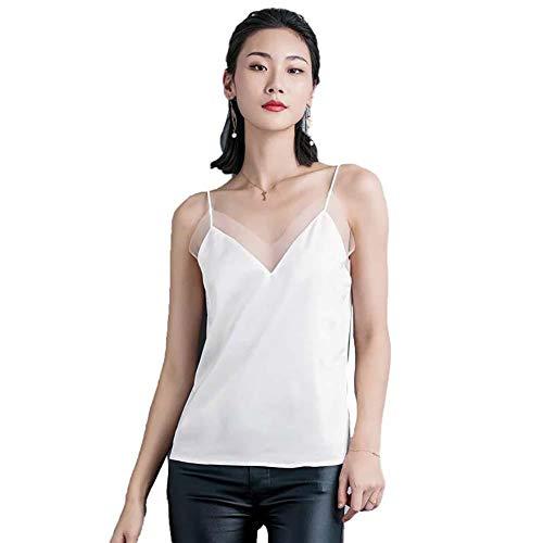 jingyuu Seidentop Cami Unterhemd Frauen Satin Basic Full Slip V Neck Ärmellos Side Split Tops Fashion Tank T-Shirt