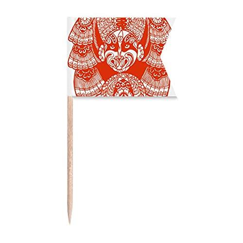 Roter Peking-Opernkopf, Papierschnitt, Zahnstocher, Flaggen, Markierung für Party, Kuchen, Lebensmittel, Käseplatte
