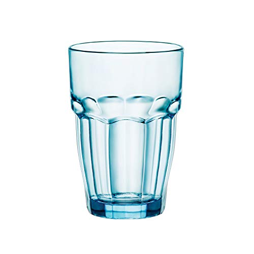 Bormioli Rocco Rock Bar Set Bicchieri Long Drink Ice, Azzurro, 6 unità