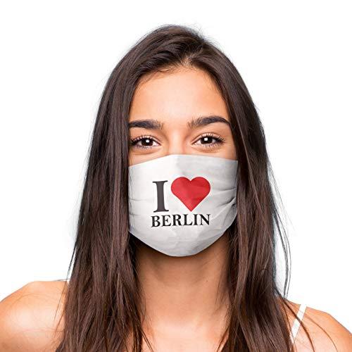 Mund Nasen Maske »I Love Berlin« waschbar | Wiederverwendbare Gesichtsmaske | Community-Maske in Universalgröße | Alltagsmaske handgefertigt in der EU | in unterschiedlichen Farben, und Designs