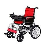 Silla de ruedas eléctrica plegable portátil Ancianos discapacitados Scooter eléctrico inteligente con mesa Batería de litio 20 km Vida útil de la batería sillas de ruedas electricas ( Color : Red )