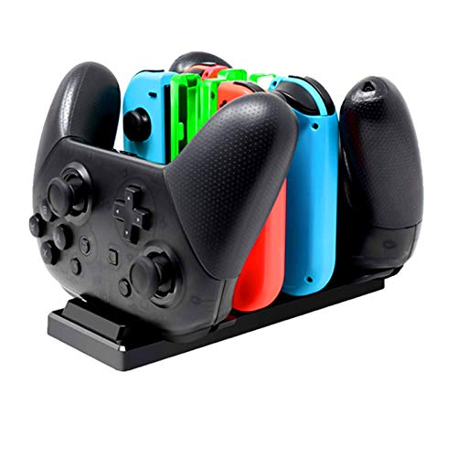 LYCEBELLCharger for Nintendo Switch Joy Con Controller, Charging Dock for Nintendo Switch with Indicator Light, Switch Charger Dock for 4 Joy Cons 2 Pro Controller (Black)