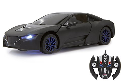 Jamara 410031 - Robicar 1:14 transformable 2,4GHz schwarz - RC Transformation zum Roboter auf Knopfdruck, Lautsprecher, Einzelradaufhängung, bis zu 1 Stunde Fahrzeit, LED Licht