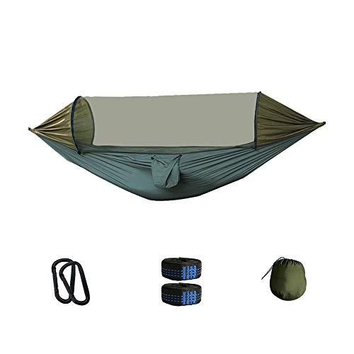 MMUY-1 Hamac de camping avec moustiquaire, kit Easy Set Up et sangle d'arbre et mousqueton pour randonnée, trekking, voyage