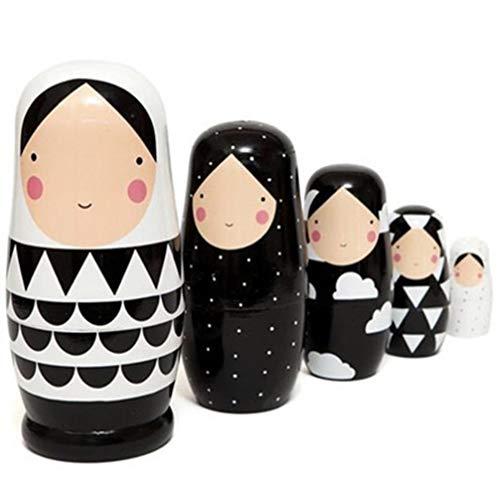 EXCEART Matroschka Puppen Holz Traditionelle Babuschka 5 Schichten Schwarz Weiß Mädchen Holzspielzeug Weihnachten Zuhause Dekoration Geburtstag Festival Geschenk Kinder Spielzeug