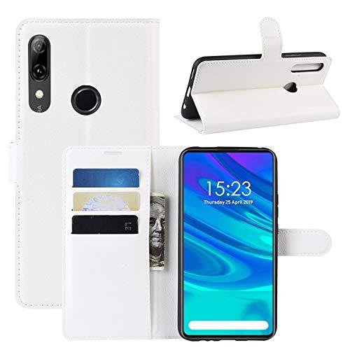 HualuBro Funda para Huawei Y9 Prime 2019, Funda Libro de Cuero PU Premium con Tapa y Cartera Flip Cover Magnético Carcasa para Huawei Y9 Prime 2019 Case (Blanco)