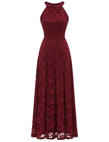 MuaDress 6012 Damen Abendkleider Lang Ballkleider Festliche Kleider für Hochzeit Maxi Spitzenkleid Burgundy L