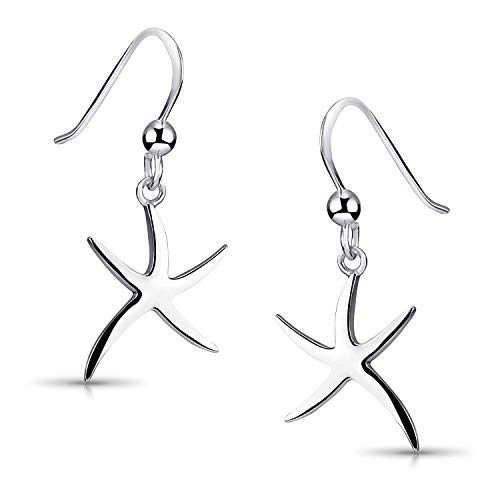 MATERIA Seestern Ohrringe Silber 925 MARE - Stern Ohrhänger Damen rhodiniert inkl. Schmuck Box #SO-18