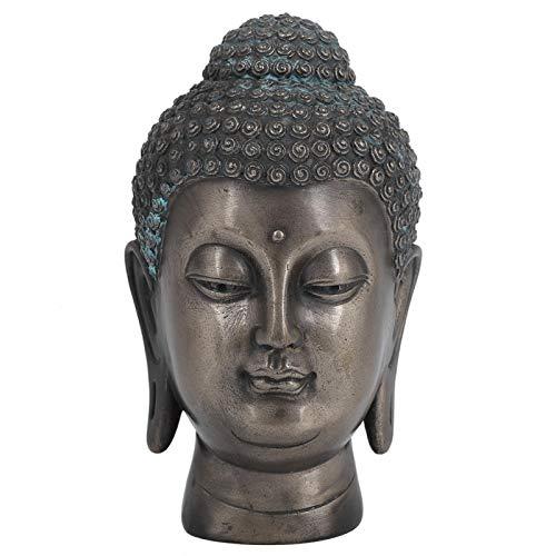 Hapivida Estatua de Cabeza de Buda de Resina, Adorno de Escultura de Cabeza de Buda, Adorno de estatuilla de Buda meditando para la decoración de la Sala de Estar de la Mesa del hogar