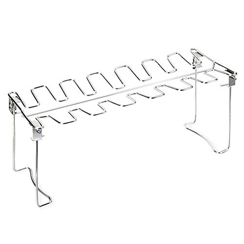 Bliev Chicken Leg Wing Grill Rack, BBQ Chicken Drumsticks Rack Stainless Steel Roaster Stand with Drip Pan Oven and Charcoal Kettle Dishwasher Safe Barbecue Accessories