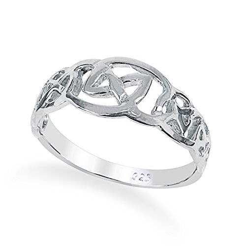 Solid 925 Sterling Silver Celtic Knot ring in sizes G-Z comes boxed (U)