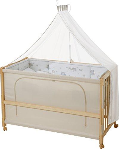 roba Lit d'allaitement, lit bébé 60x120cm en bois naturel 'Animal Friends', fixation au lit parental possible, avec équipement complète.