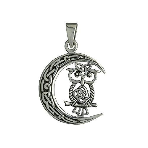 Colgante de búho Goddes Moon, nudo celta, luna creciente de plata, joyería vikinga pagana wiccana, regalo para hombres y mujeres, 5,5 g, plata de ley 925, Beldiamo