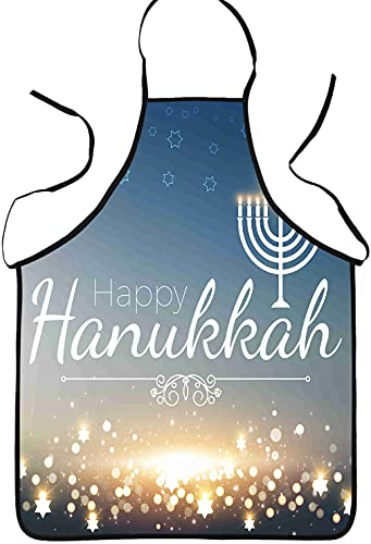 JOOCAR Bib Apron Happy Hanukkah Unisex Cooking Kitchen Aprons for Chef Couple BBQ Painting