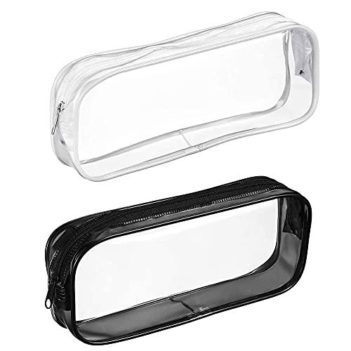 2pcs Clear Matit Case, capacità borsa a cerniera borsa sacchetto trasparente sacchetto di trucco borsa da viaggio sacchetto di stoccaggio di viaggio, cancellazione di PVC con cerniera