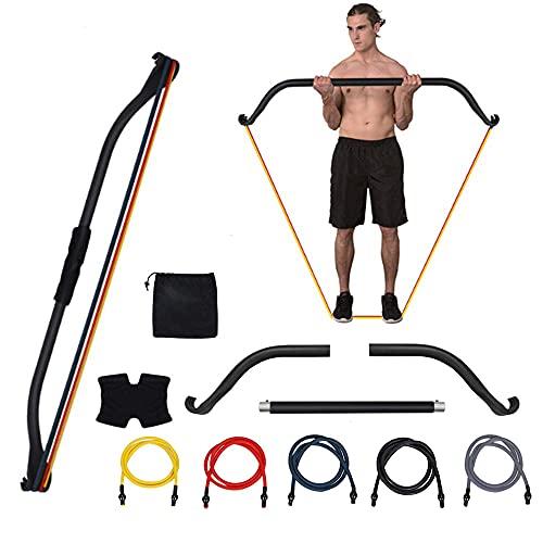 UBaymax Entrenador de Tensión de Arco,Entrenamiento de Resistencia Fitness con Tres Paradas,Multifungal Accesorio de Muscular Gimnasio Portátil,Kit Físico Ejercicio de Fuerza para Hombre Mujer (1)