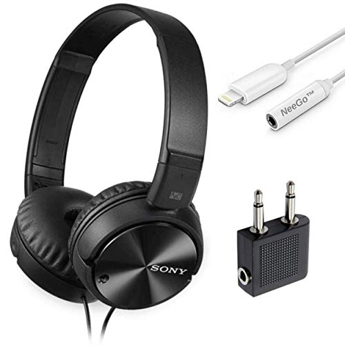 Sony Wired Noise Cancelling Stereo Headphones (Black) + NeeGo 3.5mm Jack Converter for iPhone
