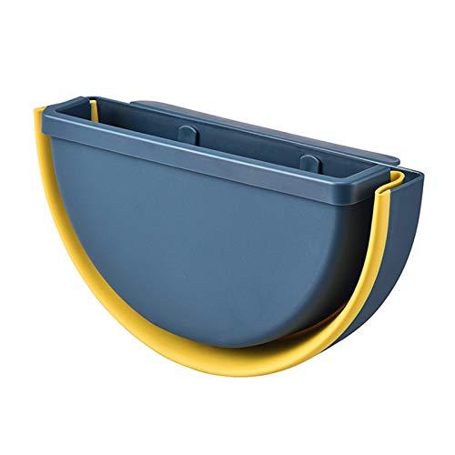 Cubos de Basura para la Cocina,Semicírculo Papelera Cocina Plegable Colgante,Bote de Basura,Multifuncional Basurero para Baño Coche y Oficina Azul marino