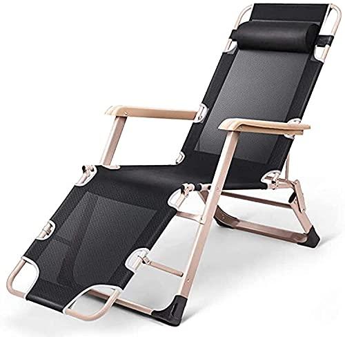 Tumbona de jardín portátil, silla de relajación, sillón de múltiples posiciones, con reposacabezas acolchado y ajuste de múltiples posiciones de pies, azul, versión normal, fácil de almacenar y llevar