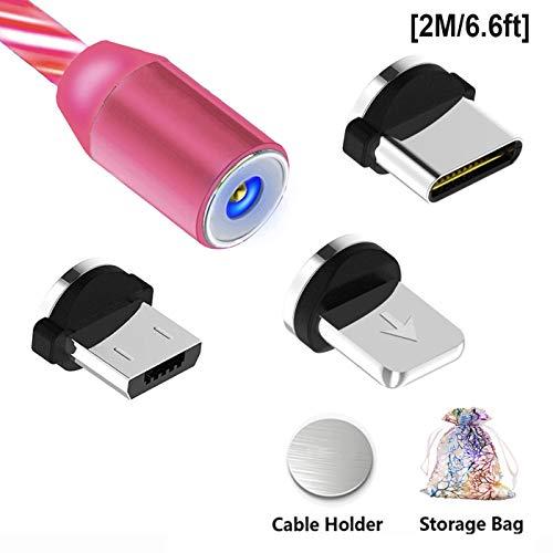 Magnetische USB C 3-in-1 Ladekabel LED Fließende Ladegerät Typ C Kabel Draht 360 ° Runde Schnelles Aufladen Ladekabel Kabel für Telefon Android i-Produkte