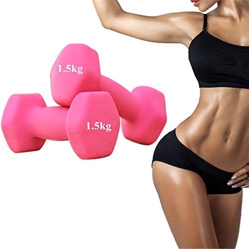 Pair 2pcs Dumbbell Pink Lovely Woman Fitness Dumbbell Girls Gym Lady Home Aerobic Exercise Equipment Barbell Muscle Toning Burn Calorie Dumbbell(1.5kg-Pink-Set of 2)