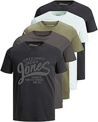Jack and Jones Herren T-Shirt 5er Set Tshirt für Männer (Regular Fit Lauritz 5er, XXL)