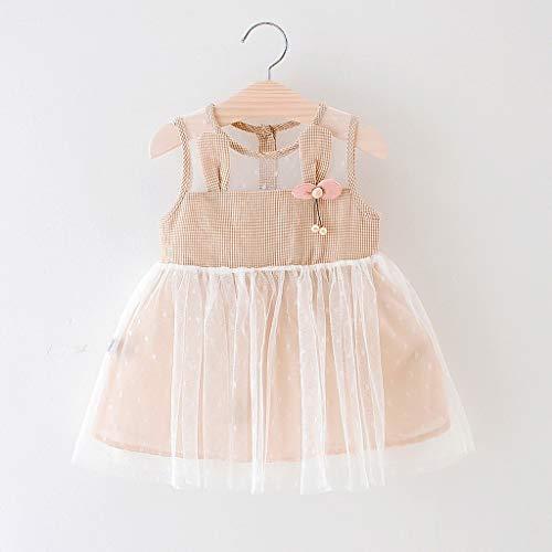 Janly Clearance Sale Vestido de niña para niñas de 0 a 10 años, para bebés y niñas, estampado a cuadros, vestido de princesa, para 12 a 18 meses (amarillo)