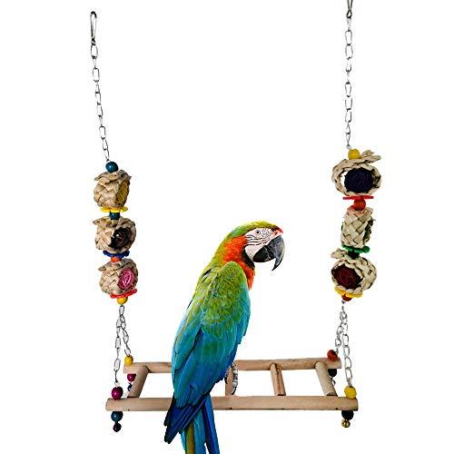 ASOCEA Papageienschaukel Hängendes Spielzeug Hühnerstall Zubehör Natürliches handgefertigtes Pech-Spielzeug aus Holz für kleine Ara-Vogel-Hühner-Training