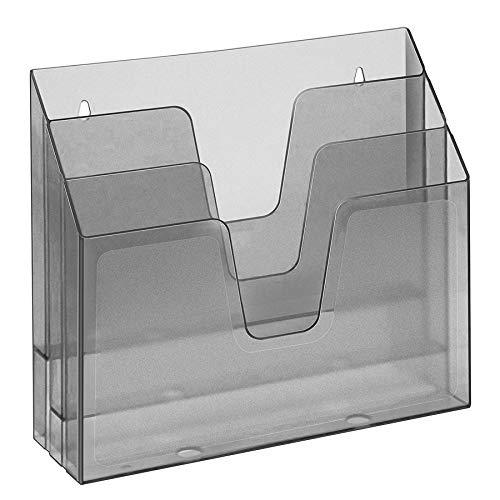 Acrimet Organizador Horizontal de 3 Compartimientos Para Escritorio o Pared (Color Humo / Gris Transparente)