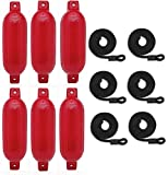 Mad Dog Products 6 Pack Red 6' x 23' Ribbed Boat Fender Bumper Pack w/ Black Fender Lines