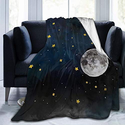 Sweetmall Classic Ultra-Soft Micro Flannel Blanket with 80 x 60 in, Compactly No Fading Fantasy Starry Galaxy Planet Space Star Throw Blanket, Comfy Picnic Blanket for Kids Sofa Office