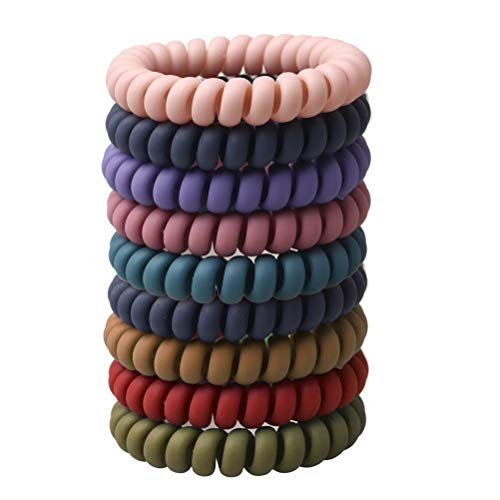 Pengxiaomei 10 pcs Spiral Hair Ties, Colorful Matte Phone Cord Hair Ties Ponytail Holder Coil Hair Ties in 10 Different Colors