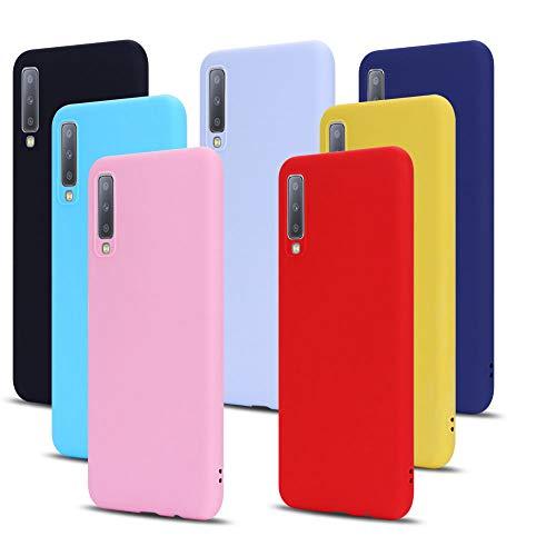 MoEvn 7X Cover per Samsung A7 2018 Custodia, Morbido in TPU Silicone Protezione Case per Samsung Galaxy A7 2018 Smartphone Opaco Gomma Gel Flessibile Sottile Antiurto Cellulare Bumper (7 Colori)