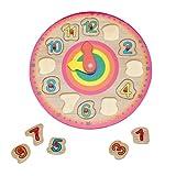 Baby Heroe Reloj Infantil Madera. Juguete Educativo. Aprender Las Horas. Madera Natural Ecológica. Rompecabezas de Aprendizaje Preescolares.