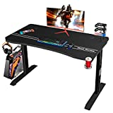 Furmax 44 Inch Gaming Desk T-Shaped PC Computer Table, Home Office Desk Carbon Fibre Surface...