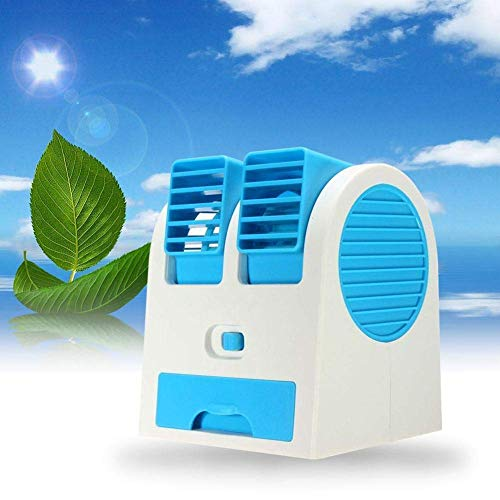 SHOPTOSHOP Mini Cooler USB and Battery Powered Mini Portable Dual Blower Desk Table Air Cooler Fan Portable Dual Bladeless (USB Fan)