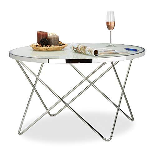 Relaxdays Beistelltisch Glas Large, Chrom, Milchglas, Couchtisch, Kaffeetisch, edel, Stahl HBT: 48 x 85 x 85 cm, silber