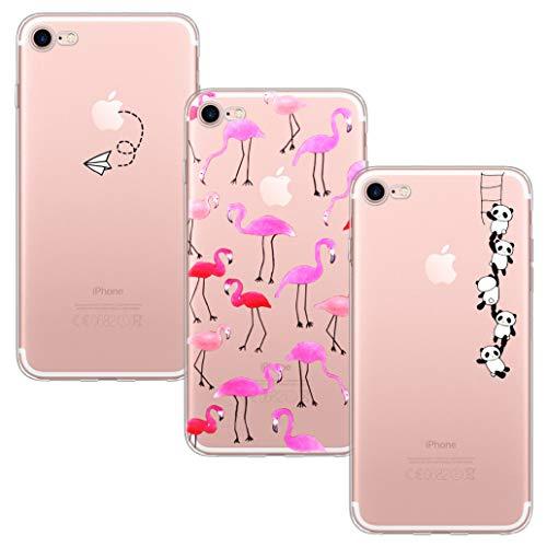 Yoowei 3-Pack Cover per iPhone 8 / Cover iPhone 7 Trasparente con Disegni, Morbida TPU Silicone Ultra Sottile Protezione a 360 Gradi Custodia per iPhone 7/8