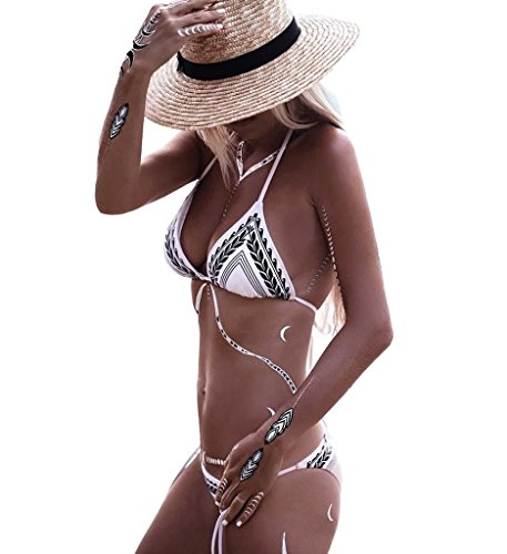 Blugibedramsh Women 's Sexy Bikini Halter Push up Padded Top Bikini Bathing Suit,White,X-Large