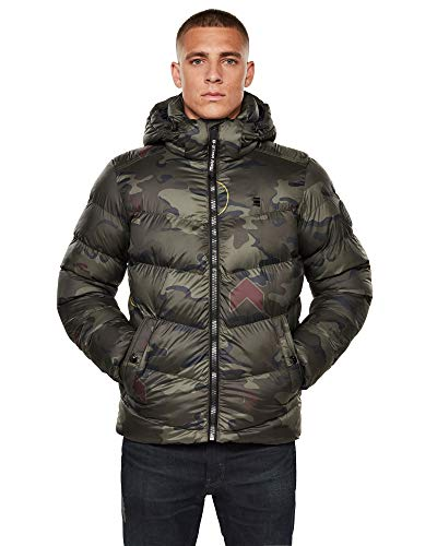 G-STAR RAW Mens Whistler HDD Puffer Jacket, Forest Night Circle camo C441-B807, Small