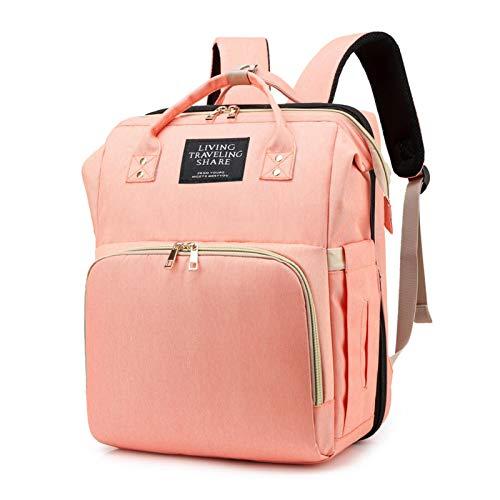 Mochila para pañales de bebé, cuna de viaje y mochila con colchón, mochila para pañales con cambiador multifuncional, gran capacidad, bolsa para biberones, para casa y de viaje